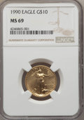 Modern Bullion Coins: , 1990 $10 Quarter-Ounce Gold Eagle MS69 NGC. PCGS Population (714/4). NGC Census: (1850/13). Numismedia Wsl. Price for prob...