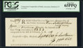 Colonial Notes:Connecticut, Connecticut Oliver Wolcott Comptroller Receipt 9s.11d September 3,1789 PCGS Gem New 65PPQ.. ...