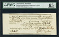 Colonial Notes:Connecticut, Connecticut Ralph Pomeroy Comptroller Receipt £1.4s December 22,1790 PMG Gem Uncirculated 65 EPQ.. ...
