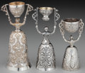 Silver Holloware, Continental:Holloware, Three Continental Silver Jungfrauenbecher Wager Cups, early 20thcentury. 7 inches (17.8 cm) (tallest). 17.68 troy ounces. ...(Total: 3 )