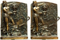 Books:Furniture & Accessories, [Bookends]. Pair of Matching Bronze Bookends Depicting ClassicalGoddess. Unsigned, undated.... (Total: 2 Items)