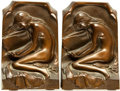 Books:Furniture & Accessories, [Bookends]. Pair of Matching Brass Bookends Depicting ReadingWoman. Unsigned, undated.... (Total: 2 Items)