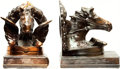 Books:Furniture & Accessories, [Bookends]. Pair of Matching Metal Pegasus Bookends. Unsigned,undated.... (Total: 2 Items)