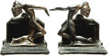 Books:Furniture & Accessories, [Bookends]. Pair of Matching Metal Bookends Depicting Deco Nudes.Unsigned, undated.... (Total: 2 Items)