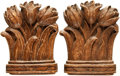 Books:Furniture & Accessories, [Bookends]. Pair of Matching Bookends Depicting Tulips. OrnaWood,undated.... (Total: 2 Items)