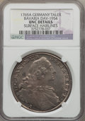 German States:Bavaria, German States: Bavaria. Maximilian III Josef Taler 1765-A UNCDetails (Surface Hairlines) NGC,...