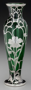 Silver Holloware, American:Vases, An American Silver Overlay Green Glass Vase, circa 1900. Marks:18, STERLING, DEPOSIT, 456, 10W. 10-1/4 inches high...