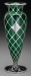 Silver Holloware, American:Vases, An Alvin Silver Overlay Green Glass Vase, New York, New York, circa1900. Marks: A, 925-1000 FINE, G, 3234-5. 12 inches ...