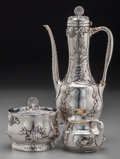 Silver Holloware, American:Coffee Pots, A Three Piece Tiffany & Co. Silver Demitasse Set with AppliedMarine Motif, New York, New York, circa 1902-1907. Marks: TI...(Total: 3 Items)