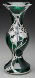 Silver Holloware, American:Vases, An American Silver Overlay Emerald Green Glass Vase, circa 1900.Marks: FINE, 925-1000, SILVER, 8. 10 inches high (25.4 ...