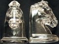 Books:Furniture & Accessories, [Bookends]. Pair of Matching Glass Horse Head Bookends. [IndianaGlass, Circa 1940].... (Total: 2 Items)