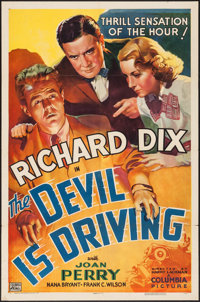 "The Devil is Driving (Columbia, 1937). One Sheet (27"" X 41""). Crime"