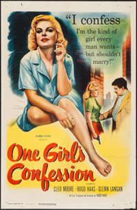 "One Girl's Confession (Columbia, 1953). One Sheet (27"" X 41""). Bad Girl"