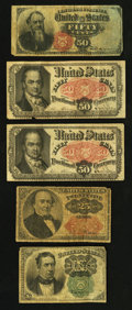 Fractional Currency:Fifth Issue, Fourth and Fifth Issue Fractionals.. ... (Total: 5 notes)