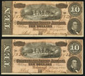 Confederate Notes:1864 Issues, T68 $10 1864 PF-42 Cr. 551 Two Consecutive Examples.. ... (Total: 2 notes)