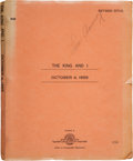 Books:Fiction, [Walter Lang, director]. Ernest Lehman. The King and I. Revised Final Script. [Hollywood, CA: Twentieth Century ...