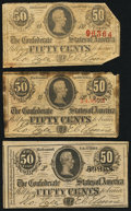 Confederate Notes:1863 Issues, 50 Cents 1863 and 1864.. ... (Total: 3 notes)