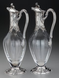Silver & Vertu:Hollowware, A Pair of Tetard Freres Silver Mounted Glass Ewers, Paris, France, circa 1905. Marks: (Minerva's head), (urn-T FRES). 12-1/2... (Total: 2 )