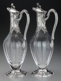 A Pair of Tetard Freres Silver Mounted Glass Ewers, Paris, France, circa 1905 Marks: (Minerva's head), (urn-T FRES