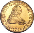 Mexico, Mexico: Ferdinand VI gold 8 Escudos 1756 Mo-MM UNC Details (SurfaceHairlines) NGC,...