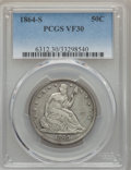 Seated Half Dollars: , 1864-S 50C VF30 PCGS. PCGS Population (18/101). NGC Census: (5/49). Mintage: 658,000. Numismedia Wsl. Price for problem fre...