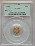 California Fractional Gold , 1871 50C Liberty Round 50 Cents, BG-1011, R.2, MS64 PCGS. PCGSPopulation (54/38). NGC Census: (17/26). ...