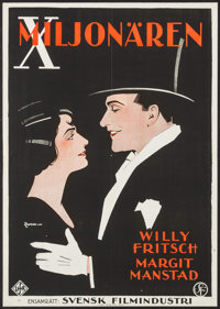 "Because I love You (Svensk Filmindustri, 1928). Swedish One Sheet (27.5"" X 39.25""). Foreign"