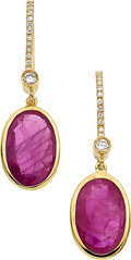 Estate Jewelry:Earrings, Burma Ruby, Diamond, Gold Earrings. ...