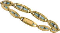 Art Nouveau Diamond, Plique-à-Jour Enamel, Gold Bracelet, French