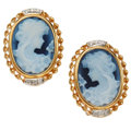 Estate Jewelry:Earrings, Hardstone Cameo, Diamond, Gold Earrings. ... (Total: 2 Items)