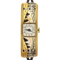 Timepieces:Wristwatch, Swiss 18k Gold & Enamel Deco Wristwatch. ...