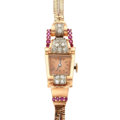 Timepieces:Wristwatch, Swiss 14K Rose Gold Ruby & Diamond Retro Wristwatch. ...