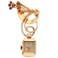 Lady's 14k Pink Gold & Rubies Pendant Watch
