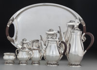 A Six Piece Codan Mexican Silver Tea and Coffee Service with Grape Motif, Mexico City, Mexico, circa 1950 Marks: &lt...