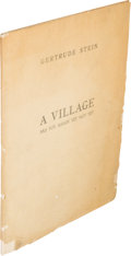 Books:Literature 1900-up, Gertrude Stein. A Village Are You Ready Yet Not Yet. APlay in Four Acts. Paris: Éditions de la Galerie Simon, [...