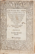 Books:Reference & Bibliography, [King James I, Association Copy]. (Sir William) Staunford. LesPlees del Coron. London: Richard Tottyll, 156...
