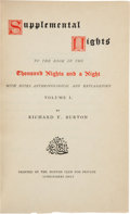 Books:Fine Bindings & Library Sets, [Arabian Nights]. Sir Richard F. Burton. The Book of the Thousand Nights and a Night [and:] Supp... (Total: 17 Items)