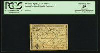 North Carolina April 2, 1776 $4 Bee PCGS Apparent Extremely Fine 45