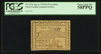 North Carolina August 8, 1778 $10 Persecution the Ruin of Empires PCGS Choice About New 58PPQ