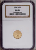 Gold Dollars: , 1866 G$1 MS61 NGC. A boldly struck and lightly marked straw-goldrepresentative. The dies are clashed and moderately rotate...