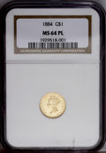 Gold Dollars: , 1884 G$1 MS64 Prooflike NGC. The fields are decidedly reflective,not too surprising given that the mintage was just 5,230 ...