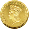 Proof Gold Dollars: , 1860 G$1 PR66 Cameo NGC. According to Mint records, 154 proof gold dollars were produced at Philadelphia in 1860, although ...