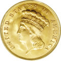 Three Dollar Gold Pieces: , 1888 $3 MS65 PCGS. Numismatic scholars estimate that no more than500 pieces of the 1888 three dollar gold survive out of a...