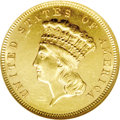 Three Dollar Gold Pieces: , 1889 $3 AU58 Prooflike NGC. Sharply detailed with generous amountsof prooflike luster on each side. There are numerous sma...
