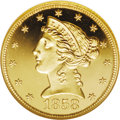 Proof Liberty Half Eagles: , 1858 $5 PR66 ★ Ultra Cameo NGC. The date is delicately formed, andclose to the bust truncati...