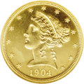 """Proof Liberty Half Eagles: , 1904 $5 PR65 NGC. As a proof, the 1904 five dollar is a """"common""""date (if you can call it that), with 136 pieces having bee..."""