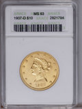 Liberty Eagles: , 1907-D $10 MS63 ANACS. An unusually bright and fully lustrousDenver Mint Liberty eagle. Canary-gold surfaces are uncommonl...