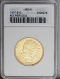 Indian Eagles: , 1907 $10 No Motto MS61 ANACS. Boldly struck with only a touch ofweakness near the centers. The bright rich luster illumina...