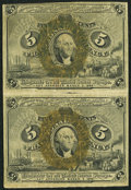 Fractional Currency:Second Issue, Fr. 1232 5¢ Second Issue Uncut Vertical Pair Very Fine+.. ...