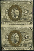 Fractional Currency:Second Issue, Fr. 1233 5¢ Second Issue Uncut Vertical Pair Choice About New.. ...